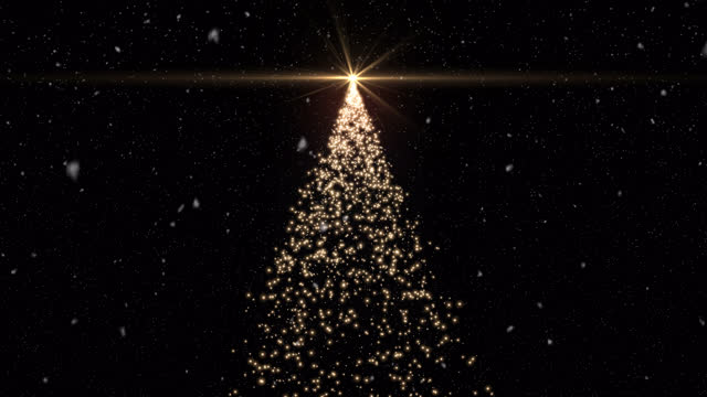 モーション背景光る粒子クリスマスツリーの形と雪 - グリーティングカード点の映像素材/bロール