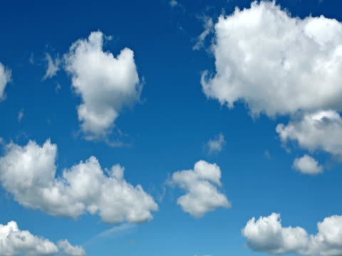 Motion background - white clouds flying on blue sky video
