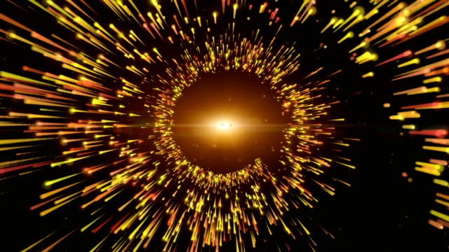 Motion background, yellow gold helix shape particle, Trails of Light. video