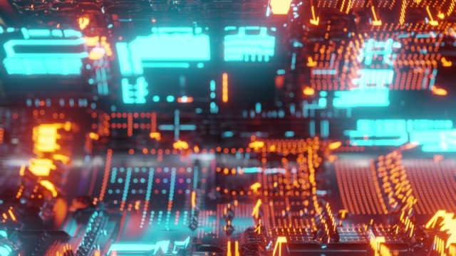 vídeos de stock e filmes b-roll de motion graphic 4k seamless loop of abstract technology background, led and flickering particles. animation of electric circuit signal with light glow and bokeh. - cromo metal