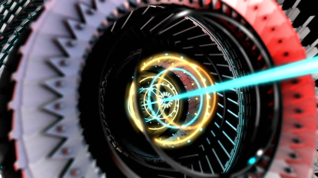 3D Motion Graphic elements, abstract hi-tech circle, robotic mechanical gear UI. 4K Loop video