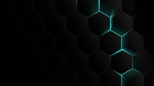 motion graphic, esagono con luce blu - esagono video stock e b–roll