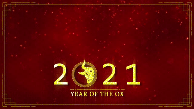 Motion graphic of golden ox with chinese new year and year of the Ox 2021 as a new year of china festival seamless loop video