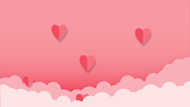 Motion graphic of heart shape abstract backgrounds with cloud