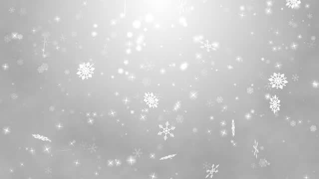 grafica in movimento di white snow che cade in inverno su sfondo grigio - decorazione natalizia video stock e b–roll