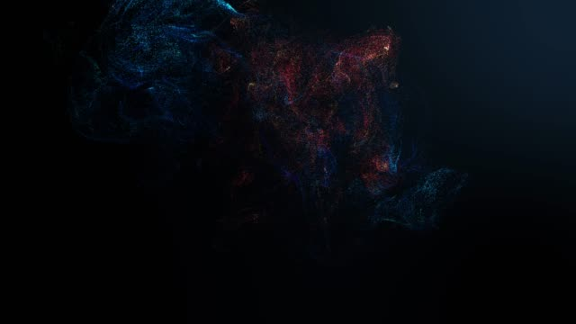 4k motion graphic simulation of cyber energy particulars combination abstract background. future energy and data technology of cyber programming concept in blue theme for presentation. - paranormalny filmów i materiałów b-roll