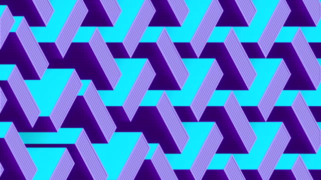 Motion graphic template with multi colored isometric moving pattern. 3d rendering digital seamless loop animation. HD resolution