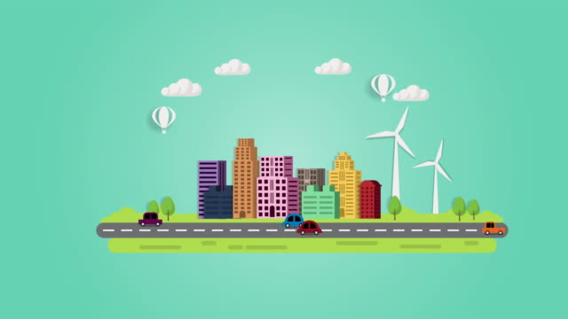 Motion graphic wind turbine  concept.  motion graphics animation, eco city using wind, solar and Wind turbine.