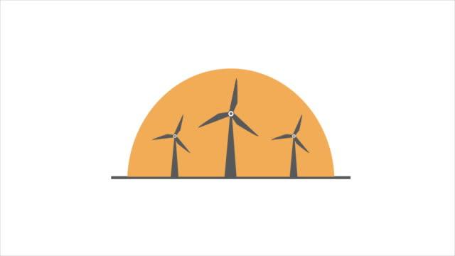 Motion graphic wind turbine  concept.
