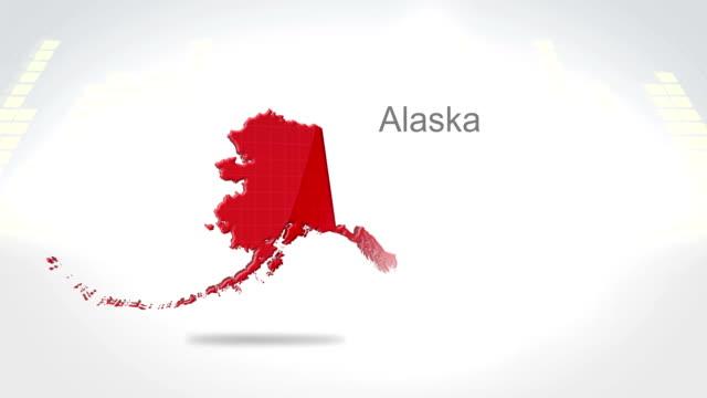 motion graphics 3d animation of the american state of alaska - alaska stato usa video stock e b–roll