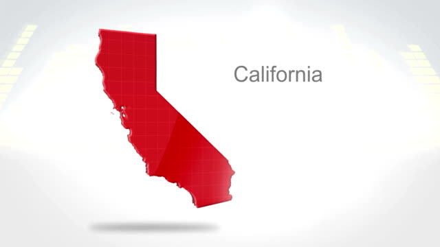 Motion Graphics 3D animation of the american state of California Motion Graphics 3D animation of the american state of California california map stock videos & royalty-free footage