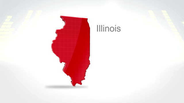 Motion Graphics 3D animation of the american state of Illinois video