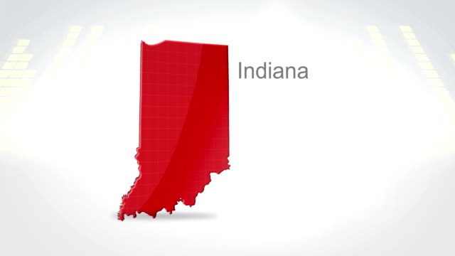 Motion Graphics 3D animation of the american state of Indiana video
