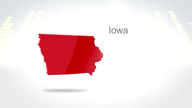 Motion Graphics 3D animation of the american state of Iowa video
