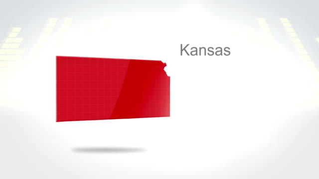 Motion Graphics 3D animation of the american state of Kansas video