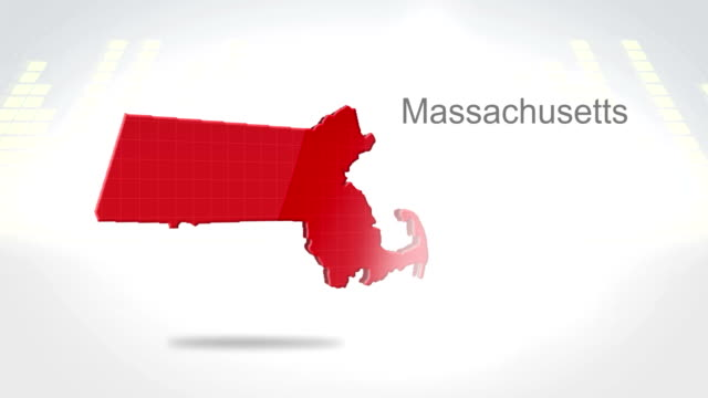 Motion Graphics 3D animation of the american state of Massachusetts video