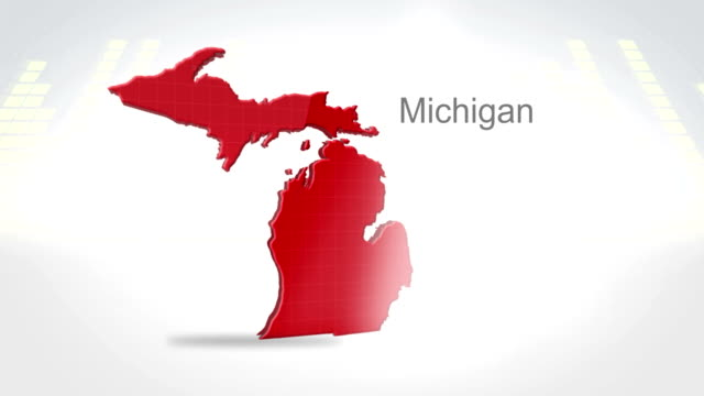 Motion Graphics 3D animation of the american state of Michigan video