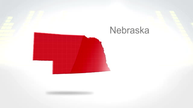 Motion Graphics 3D animation of the american state of Nebraska video