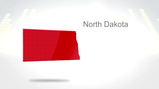 Motion Graphics 3D animation of the american state of North Dakota video