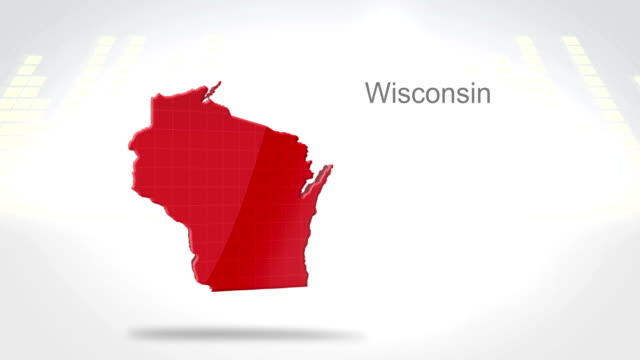 Motion Graphics 3D animation of the american state of Wisconsin video