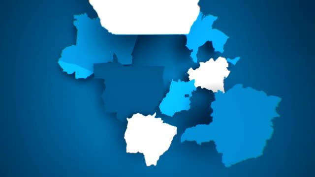 vídeos de stock, filmes e b-roll de motion graphics mapa animado do brasil formando-azul - brazil map
