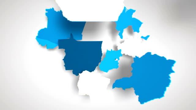 vídeos de stock, filmes e b-roll de motion graphics mapa animado do brasil formando-branco - brazil map