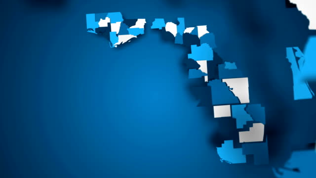 Motion Graphics Animated Map of Florida Forming - Blue Motion Graphics Animated Map of Florida Forming - Blue florida us state stock videos & royalty-free footage