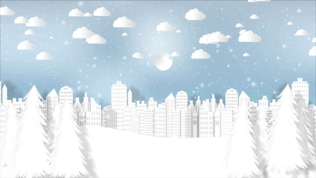 motion graphics for christmas season background with snowflake and santa in town - christmas background стоковые видео и кадры b-roll