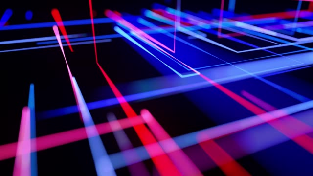 Motion graphics, sci-fi bg with flow of blue red neon glow lines form digital 3d space. Connection concept. Visualization of neural network operation, multiple calculations of various branches. 4K DOF video