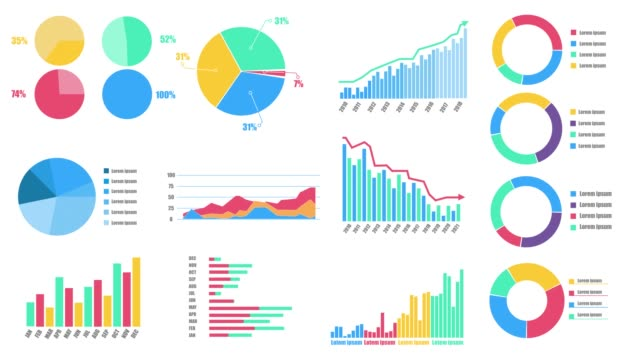 Motion infographic HUD. Colorful infographics interface with alpha channel