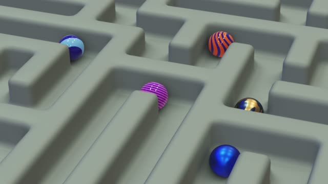 Motion Loop Balls. Abstract labyrinth background with colorful balls with various patterns. The mind of passing difficulties and the strategy of the right path. Photorealistic 3D rendering.