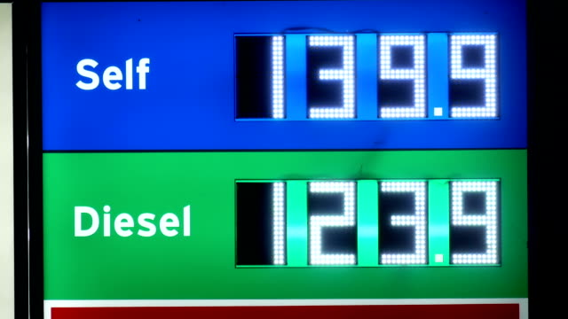 Motion of display price of gas at Chervon gas station. video