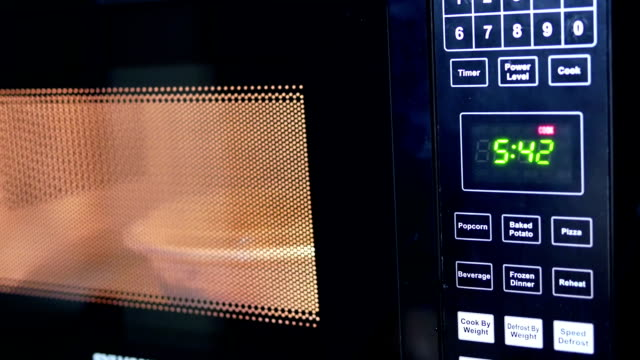 Motion of food being heated in microwave oven