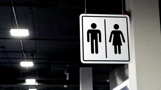 Motion of man and woman washroom logo beside wall video