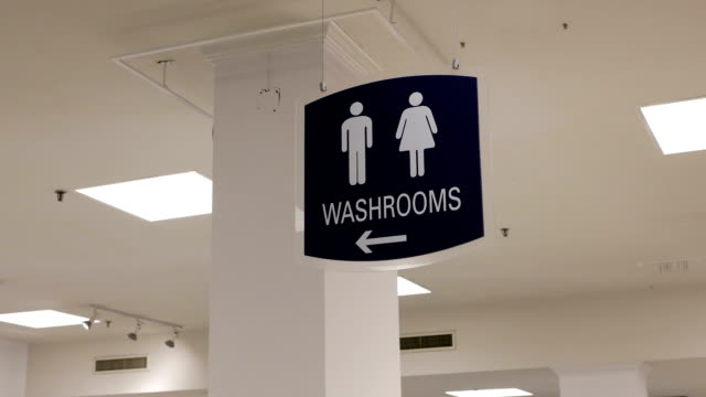 Motion of man and woman washroom logo on wall – Video