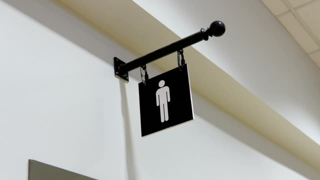 Motion of man washroom logo on wall video