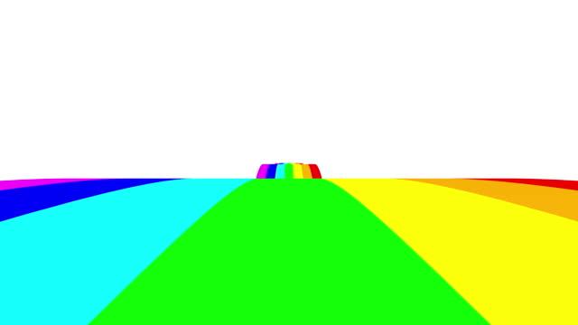 vídeos y material grabado en eventos de stock de movimiento de la manera del arco iris con las nubes por encima en el punto de vista hacia adelante puede utilizar para el fondo animado colorido el fondo es bucle sin fisuras. - unicornio