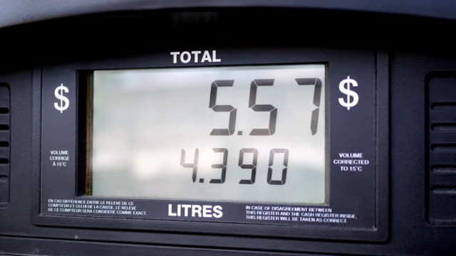 Motion of rising gas prices on pump screen video