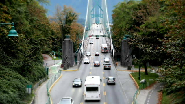 Motion of traffic flow on Lions Gate Bridge at Stanley Park in Vancouver BC Canada video