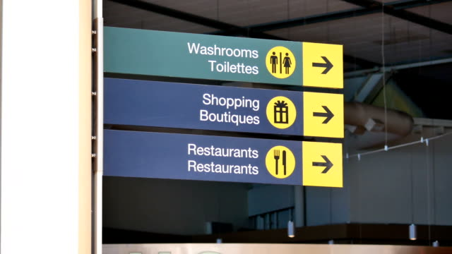 Motion of washroom, shopping and restaurants sign inside YVR airport video