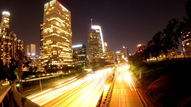 Motion time lapse above Los Angeles freeway video