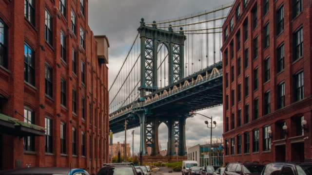 motion time lapse hyperlapse von manhattan bridge aus washington street, brooklyn, new york, usa - sehenswürdigkeit stock-videos und b-roll-filmmaterial