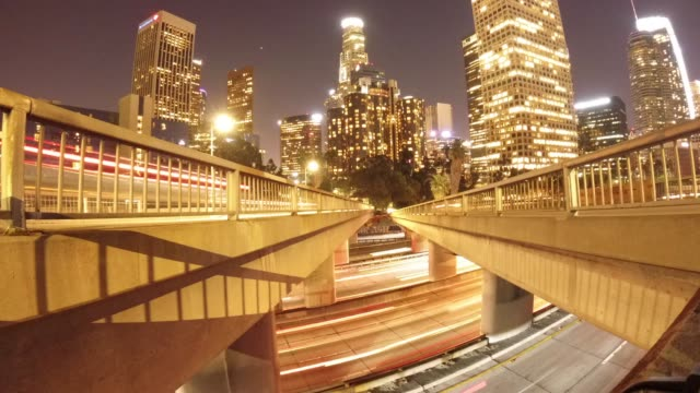 Motion time lapse of bridge perspective in downtown LA video