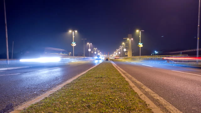 HD Motion Time-Lapse: Traffic At Night video