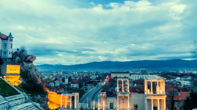 motion timplapse of anciet theater - bułgaria filmów i materiałów b-roll