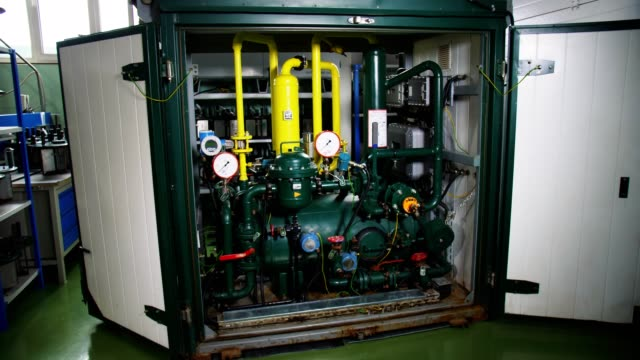 motion to modern compressor with pressure meters at plant