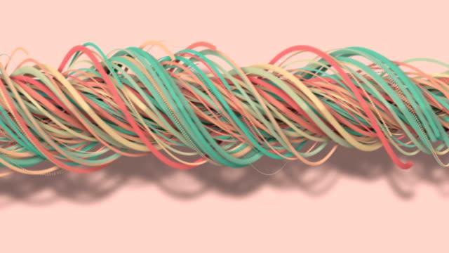 stockvideo's en b-roll-footage met 3d-beweging, 3d-rendering, abstracte geometrische achtergrond, lijnen de cirkel punten zijn heel dicht bij elkaar. tot het zien van een vrije curve veel lijnen die samen roteren in een touw. licht roze toon - touw