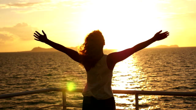 Motivational, Uplifting Concept of Freedom, Happiness and Enjoyment. Woman at Sunset. Slow Motion. video