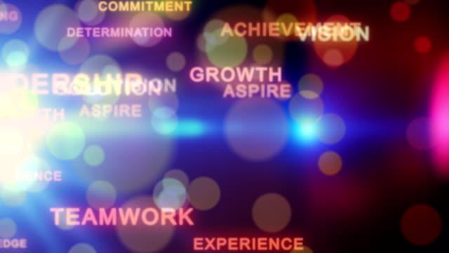 Motivational words with lens bokeh, loop video
