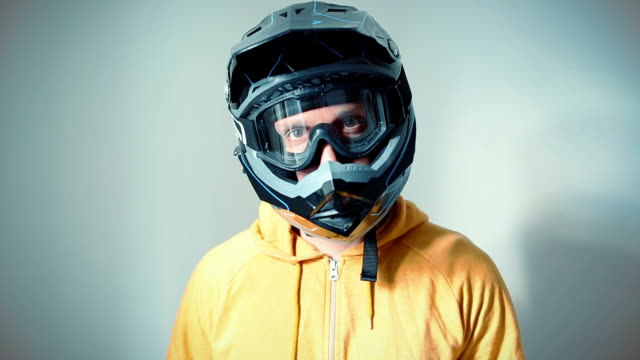 Motocross downhill rider portrait video